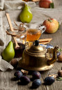 Tea and fruits Royalty Free Stock Photos