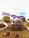 Tea gifts packaged in small bags and bowls with Royalty Free Stock Photography