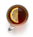 Tea in glass cup with sliced lemon. Royalty Free Stock Photo