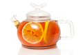 Tea in glass teapot with lemon slice see my other works portfolio Stock Photography