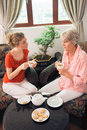 Tea with granny vertical image of a young women drinking together her grandma Royalty Free Stock Images