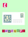 Tea history. Letter E. Envelope. Cute cartoon english alphabet with colorful image and word. Royalty Free Stock Photo