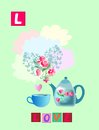 Tea history. Letter L. Love. Cute cartoon english alphabet with colorful image and word.