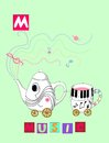 Tea history. Letter M. Music. Cute cartoon english alphabet with colorful image and word.