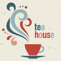 Tea house card in old style vector template Stock Images