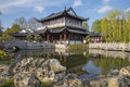 Tea house in chinese garden in Luisenpark, Mannheim Royalty Free Stock Photo