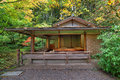 Tea House at Japanese Garden in Fall Seaston Royalty Free Stock Photo