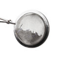 Tea infuser isolated on white background metallic sample text Royalty Free Stock Image