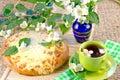Tea with jasmin and  pie Stock Photo