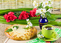 Tea with jasmin and  pie Royalty Free Stock Images