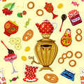 Tea a la russe seamless pattern with set in the russian style Stock Image