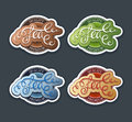 Tea labels set calligraphic colorfull Stock Image