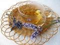 Tea with lavenders Stock Photo