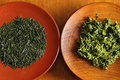 Tea leaves and insipid is drunk throughout the year it is also used in cooking Stock Image
