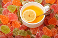 Tea with lemon and Fruit jelly Stock Image