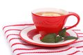 Tea lemon mint red cup saucer napkin Royalty Free Stock Images