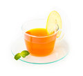 Tea with lemon and mint on white background closeup Royalty Free Stock Photo
