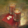 Tea with lemon oil painting two cups of on a table and two lumps of sugar on a canvas art Royalty Free Stock Photos