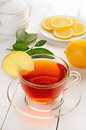 Tea with lemon on wooden table Stock Photography
