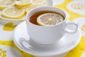 Tea with lemon on yellow napkin Stock Photography