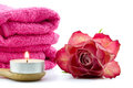Tea light, towels and rose Royalty Free Stock Photo
