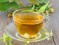Tea with linden flowers cup of herbal Stock Photography
