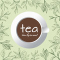 Tea logo vector background with painted leaves tea