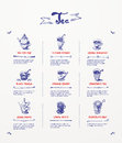 Tea menu design blue pen drawings Stock Image