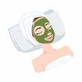 Tea Natural Mask on Beautiful Woman Face, Illustration Vector Design