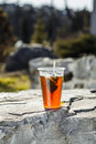 Tea in one glass in nature Royalty Free Stock Photo