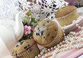Tea Party with Blueberry Muffins Royalty Free Stock Photo