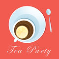 Tea party cup of with lemon on a red background Stock Image