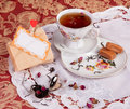 Tea party with dessert rose candy brewing rosebuds Stock Photo