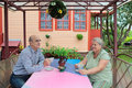 Tea party an elderly married couple drink at gazebo about country house Stock Image