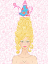Tea party girl vector roccoco styled with curly hair and sweet cakes is ready for Royalty Free Stock Photography