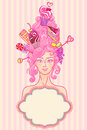 Tea party girl vector roccoco styled with curly hair and sweet cakes is ready for Royalty Free Stock Images