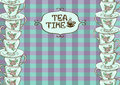 Tea party invitation with teacups on blue purple checkered background Stock Image