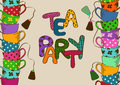 Tea party invitation with teacups cartoon colorful Royalty Free Stock Photography