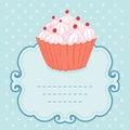 Tea party invitation vintage style frame funny cupcake vector illustration Stock Photo