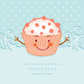 Tea party invitation vintage style frame funny cupcake vector illustration Stock Photography