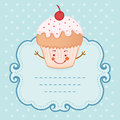 Tea party invitation vintage style frame funny cupcake vector illustration Stock Photos