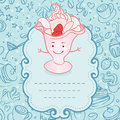 Tea party invitation vintage style frame with funny ice cream vector illustration Stock Images