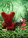 Tea party in nature fantasy scene computer graphics with resting place Stock Image