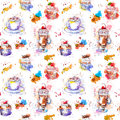 Tea party repeating pattern. Cupcake cakes, tea, coffee cup. Royalty Free Stock Photo