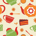 Tea party seamless pattern vector illustration Royalty Free Stock Photo
