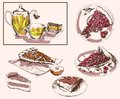 Tea party set of vector sketches Royalty Free Stock Photo