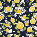 Tea pattern seamless leaves lemon tiles boxes on dark blue backgrounds vector Royalty Free Stock Image