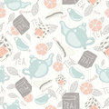 Tea pattern vintage vector with teapots cups boxs and lemons Stock Photography