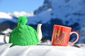 Tea pot in the knitted cap and red cup with a heart snow Stock Images