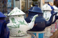 Tea Pots, white and blue Royalty Free Stock Images